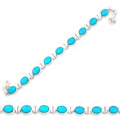 925 sterling silver natural blue magnesite oval tennis bracelet jewelry d20337