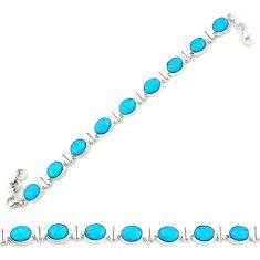 Natural blue magnesite 925 sterling silver tennis bracelet jewelry d20338
