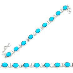 Clearance Sale- Natural blue magnesite 925 sterling silver tennis bracelet jewelry d20339