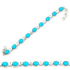 Clearance Sale- 925 sterling silver natural blue magnesite oval tennis bracelet jewelry d20340