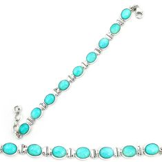 Clearance Sale- 925 sterling silver natural green peruvian amazonite tennis bracelet d20449