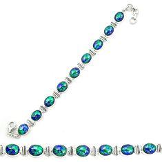 925 sterling silver natural green azurite malachite tennis bracelet d20458