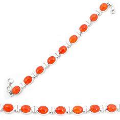 Natural orange cornelian (carnelian) 925 silver tennis bracelet d23946