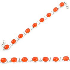 Natural orange cornelian (carnelian) 925 silver tennis bracelet d23951