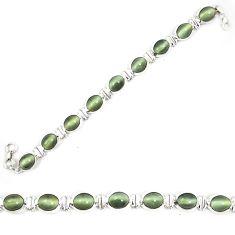 Green cats eye 925 sterling silver tennis bracelet jewelry d23982