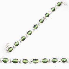 Green cats eye 925 sterling silver tennis bracelet jewelry d23983