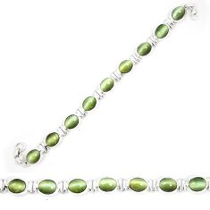 Green cats eye 925 sterling silver tennis bracelet jewelry d23984