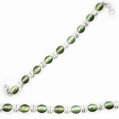 Green cats eye 925 sterling silver tennis bracelet jewelry d23985