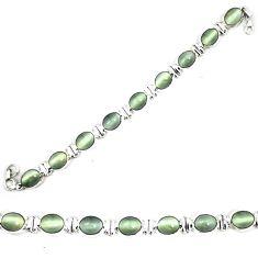 Green cats eye tennis 925 sterling silver bracelet jewelry d23988