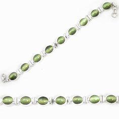 Green cats eye tennis 925 sterling silver bracelet jewelry d23989