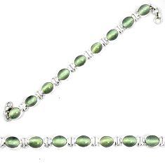 Green cats eye tennis 925 sterling silver bracelet jewelry d23990