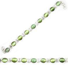 925 sterling silver green cats eye tennis oval bracelet jewelry d23992