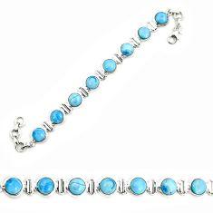 Natural blue owyhee opal 925 sterling silver tennis bracelet jewelry d25445