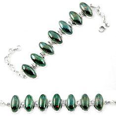 Natural green bloodstone african (heliotrope) 925 silver tennis bracelet d26166