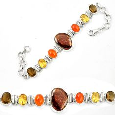 Natural mexican fire agate cornelian 925 silver tennis bracelet jewelry d26168