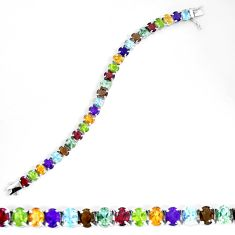 57.95cts natural purple amethyst smoky topaz 925 sterling silver bracelet d27526
