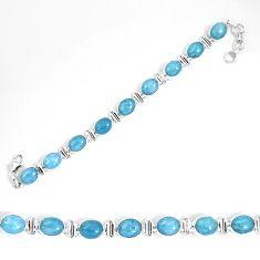 Natural blue aquamarine 925 sterling silver tennis bracelet jewelry d27557