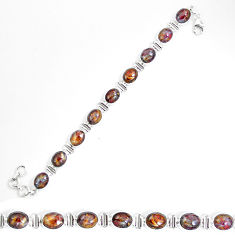 Clearance Sale- Natural brown pietersite (african) 925 sterling silver tennis bracelet d27558