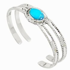 925 sterling silver blue copper turquoise adjustable bangle jewelry d27560