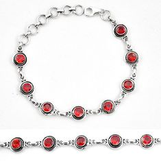 Clearance Sale- Natural red garnet 925 sterling silver tennis bracelet jewelry d30027