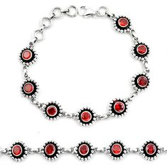 925 sterling silver natural red garnet round tennis bracelet jewelry d30029