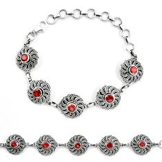 Natural red garnet 925 sterling silver tennis bracelet jewelry d30033
