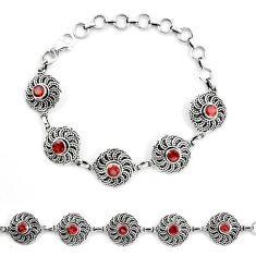 Natural red garnet 925 sterling silver tennis bracelet jewelry d30035