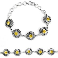Clearance Sale- 925 sterling silver natural yellow citrine tennis bracelet jewelry d30038