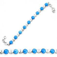 Natural blue owyhee opal 925 sterling silver tennis bracelet jewelry d30042