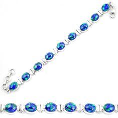 925 sterling silver natural blue azurite malachite tennis bracelet d30047