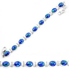 Natural blue azurite malachite 925 sterling silver tennis bracelet d30048