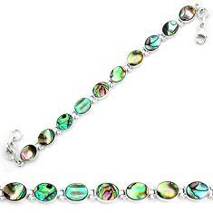 Natural green abalone paua seashell 925 sterling silver tennis bracelet d30055