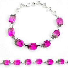 925 sterling silver watermelon tourmaline (lab) tennis bracelet jewelry d30056