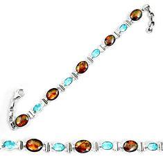 Natural multi color ammolite (canadian) topaz 925 silver tennis bracelet d30069