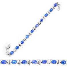Natural blue tanzanite 925 sterling silver tennis bracelet jewelry d30075