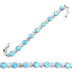 Natural blue owyhee opal 925 sterling silver tennis bracelet jewelry d30082