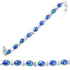 Natural blue azurite malachite 925 sterling silver tennis bracelet d30087