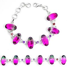 Watermelon tourmaline (lab) amethyst 925 silver tennis bracelet d30096