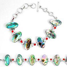 Abalone paua seashell cornelian (carnelian) 925 silver tennis bracelet d30097