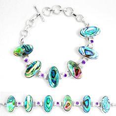Natural green abalone paua seashell amethyst 925 silver tennis bracelet d30098