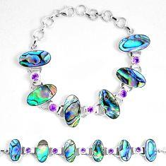 925 silver natural green abalone paua seashell amethyst tennis bracelet d30099