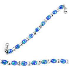 Natural blue azurite malachite 925 sterling silver tennis bracelet d30113
