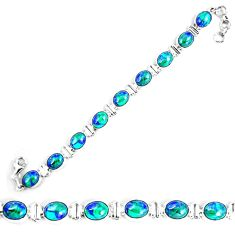 925 sterling silver natural blue azurite malachite tennis bracelet d30114
