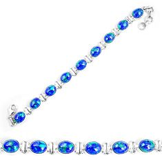 Natural blue azurite malachite 925 sterling silver tennis bracelet d30116
