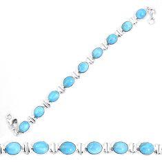 Natural blue owyhee opal 925 sterling silver tennis bracelet jewelry d30118
