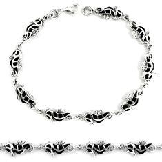 Black onyx enamel 925 sterling silver tennis bracelet jewelry d5625