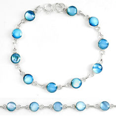 Clearance Sale- 925 sterling silver blue pearl enamel tennis bracelet jewelry d5629