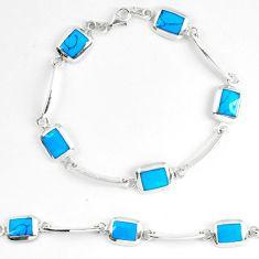 Fine blue turquoise enamel 925 sterling silver tennis bracelet jewelry d5630
