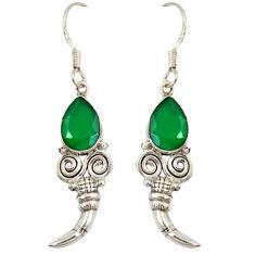 Clearance Sale- Green emerald quartz 925 sterling silver dangle earrings jewelry d10002