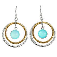lcedony 925 silver two tone dangle earrings jewelry d10016
